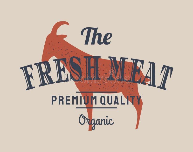 Embleem van de winkel van het Slachterijvlees met geitsilhouet, tekst Vers Vlees Embleemmalplaatje voor vleeszaken - landbouwersw vector illustratie