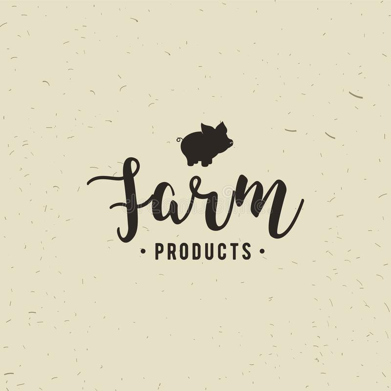 Embleem van de winkel van het Slachterijvlees met Varkenssilhouet, tekst de Slachterij, Vers Vlees, landbouwproducten Embleemmalp stock illustratie