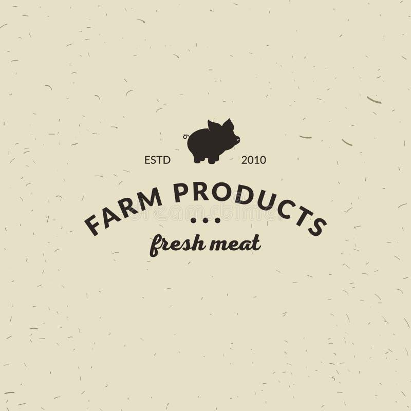 Embleem van de winkel van het Slachterijvlees met Varkenssilhouet, tekst de Slachterij, Vers Vlees, landbouwproducten Embleemmalp royalty-vrije illustratie
