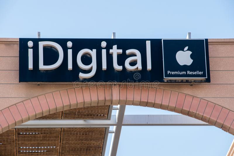 Embleem van en teken van iDigital Apple-Premiereseller stock foto's