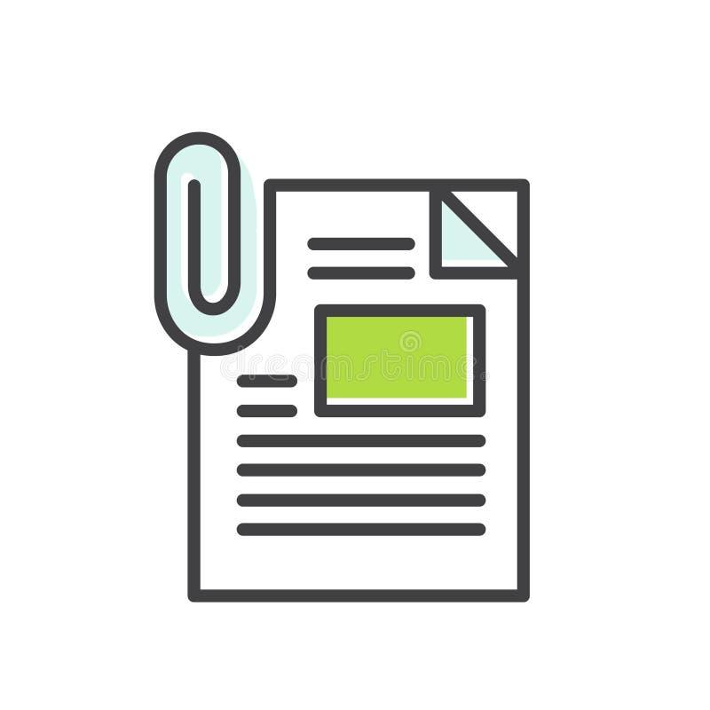 Embleem van Gehechtheidse-mail Postdossier, Paperclip die, Omslag, Informatie en Inhoud verzenden vector illustratie