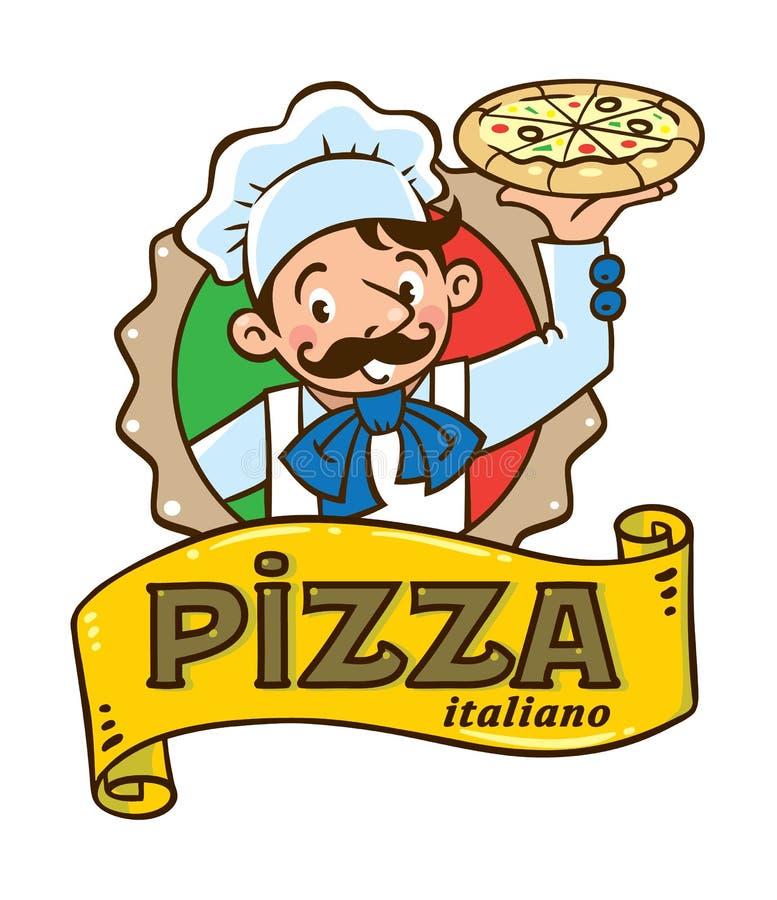 Embleem van grappige Italiaanse chef-kok met pizza en embleem stock illustratie