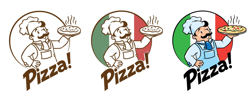 Embleem van grappige kok of bakker met pizza en embleem stock illustratie