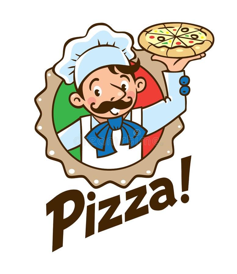 Embleem van grappige kok of bakker met pizza en embleem vector illustratie