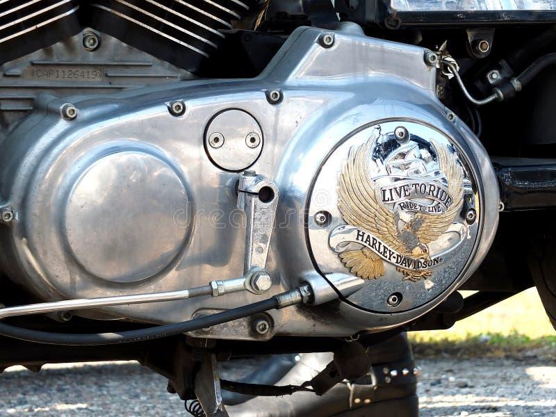 Embleem van Harley-Davidson op een motor royalty-vrije stock afbeeldingen
