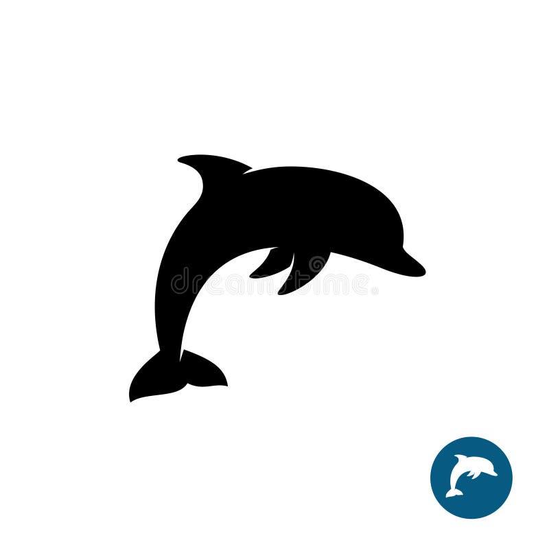 Embleem van het dolfijn het eenvoudige zwarte silhouet royalty-vrije illustratie