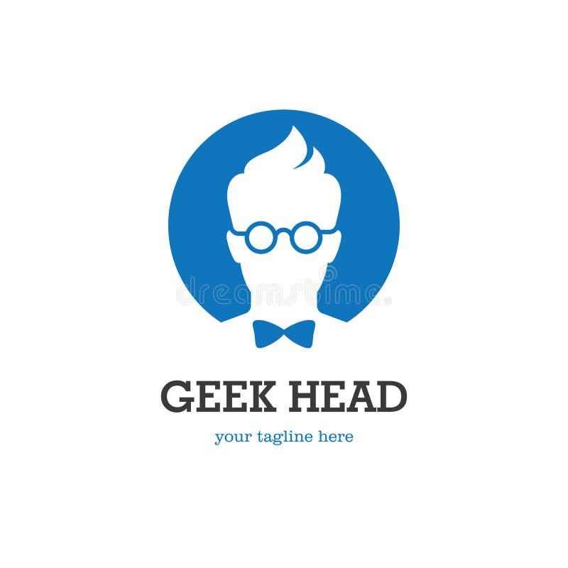 Embleem van het Geek het hoofdsilhouet stock illustratie