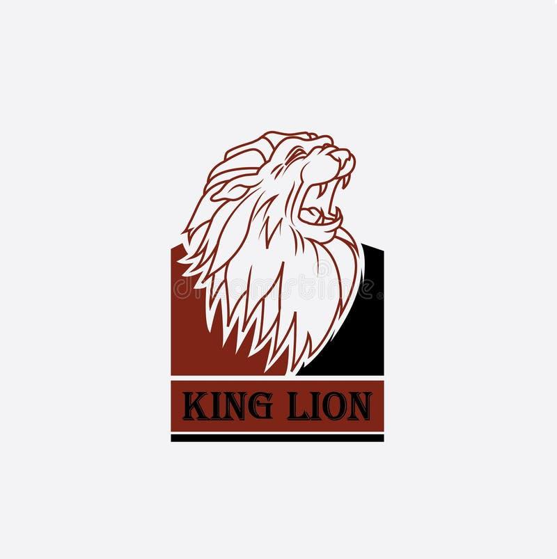 Embleem van het hoofd van de leeuwkoning vector illustratie