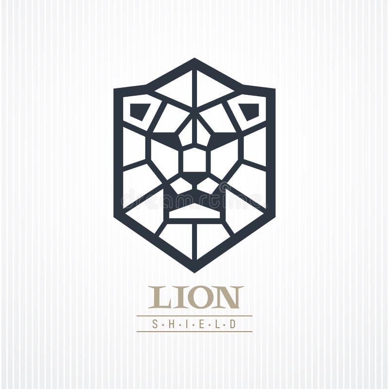 Embleem van het leeuw het hoofdschild royalty-vrije illustratie