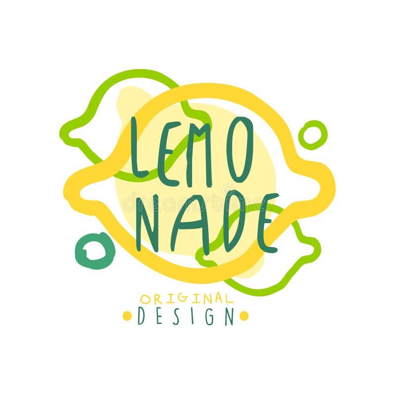 Embleem van het limonade het originele ontwerp, de natuurlijke gezonde kleurrijke hand getrokken vectorillustratie van het produc stock illustratie