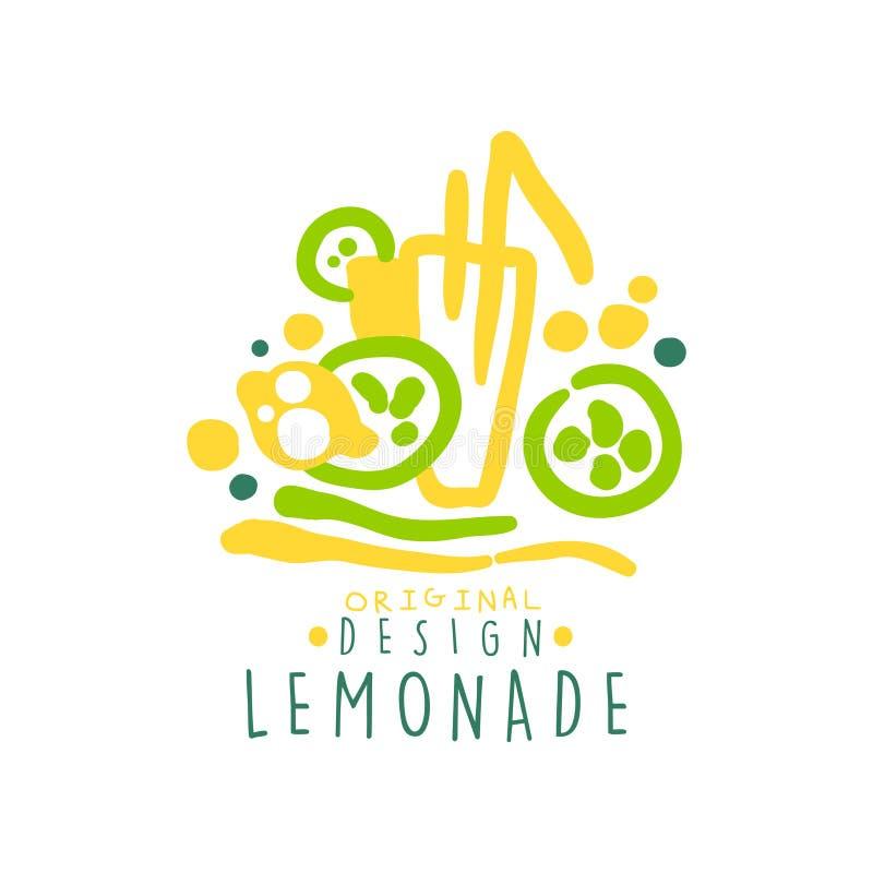 Embleem van het limonade het originele ontwerp, natuurlijk gezond productkenteken, verse drank kleurrijke hand getrokken vectoril vector illustratie