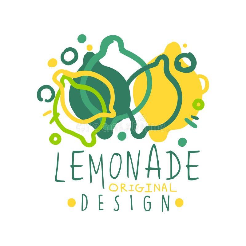 Embleem van het limonade het originele ontwerp, natuurlijk gezond productkenteken, verse drankhand getrokken vectorillustratie royalty-vrije illustratie