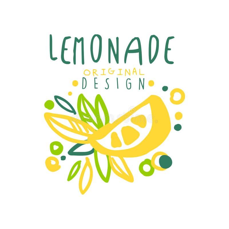 Embleem van het limonade het originele ontwerp, natuurlijke het embleem kleurrijke hand getrokken vectorillustratie van het citru royalty-vrije illustratie