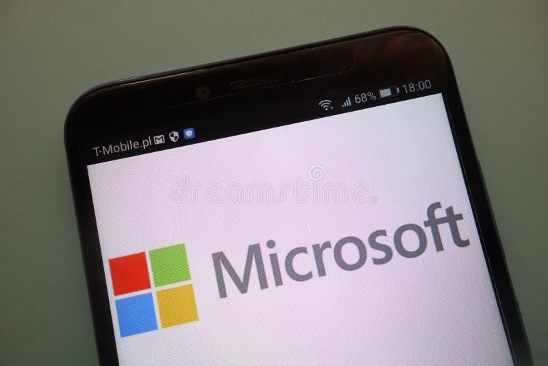 Embleem van het merk Microsoft op een moderne smartphone royalty-vrije stock afbeelding