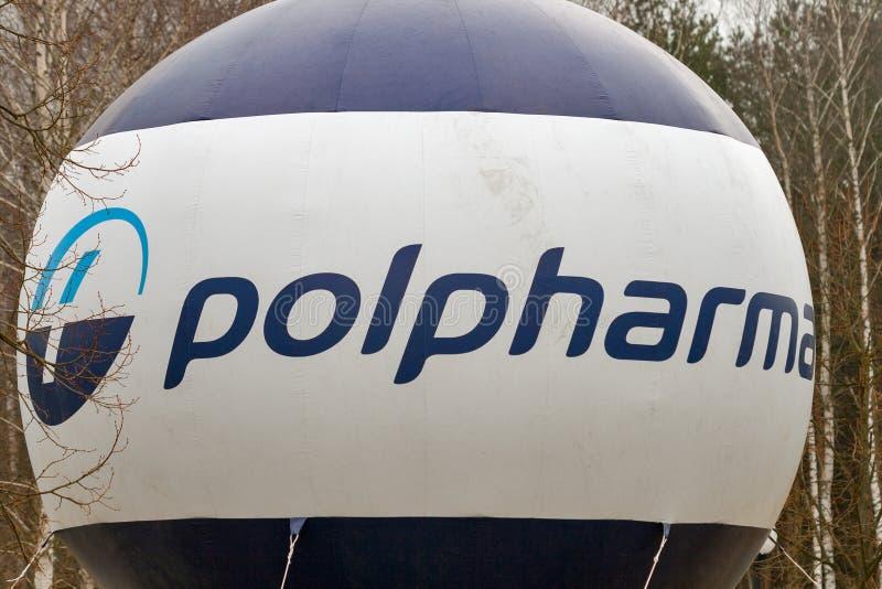 Embleem van het Polpharma het Poolse farmaceutische bedrijf openlucht stock afbeelding