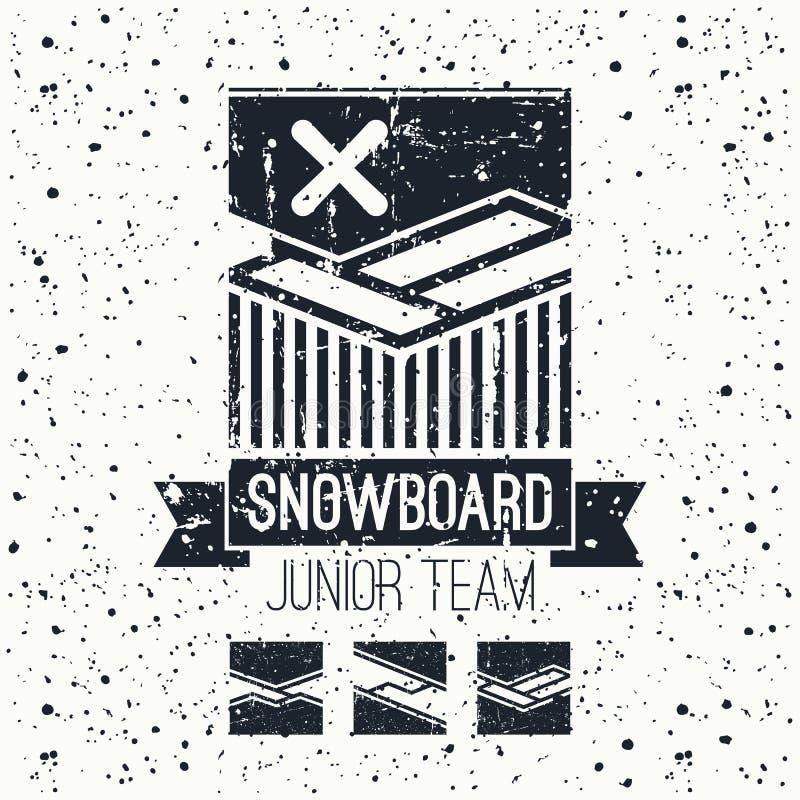 Embleem van het Snowboard het ondergeschikte team royalty-vrije illustratie