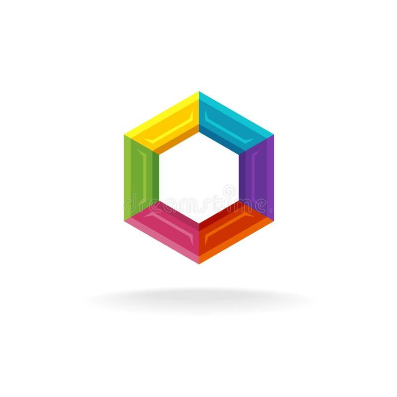 Embleem van hexuitdraai het geometrische technologie vector illustratie