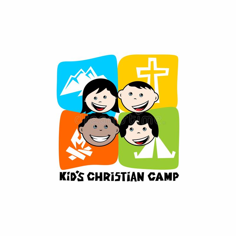 Embleem van jong geitje` s Christelijk kamp Bergen, kruis en tent, kiddies vector illustratie