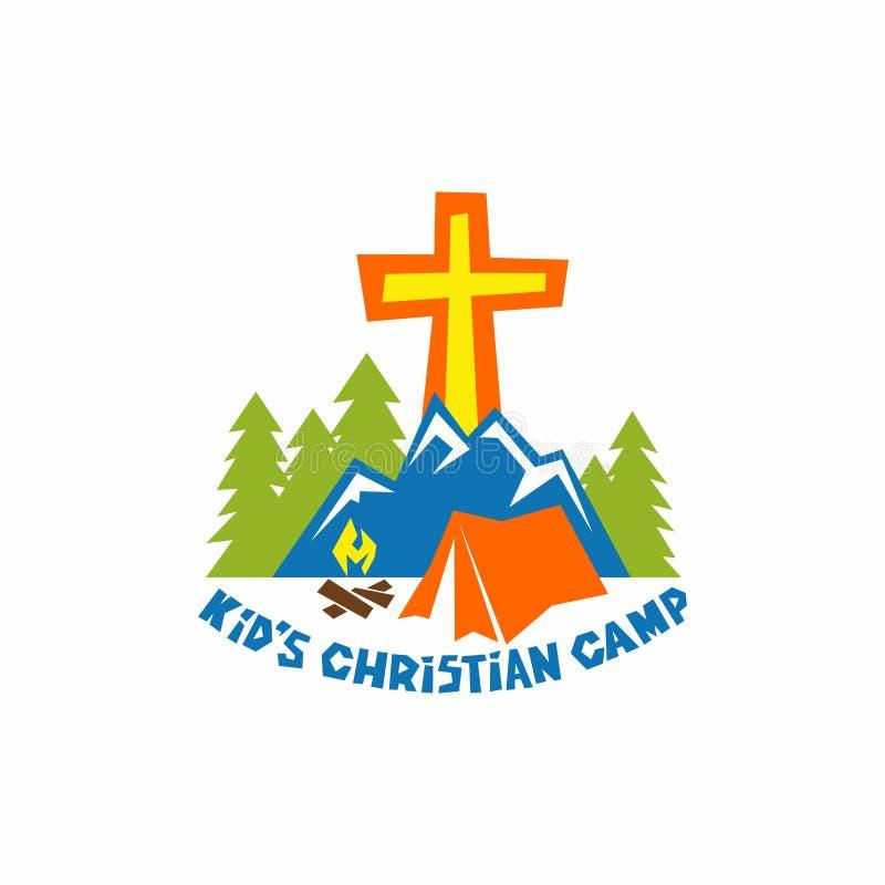 Embleem van jong geitje` s Christelijk kamp Tent en vuur, bergen en kruis stock illustratie