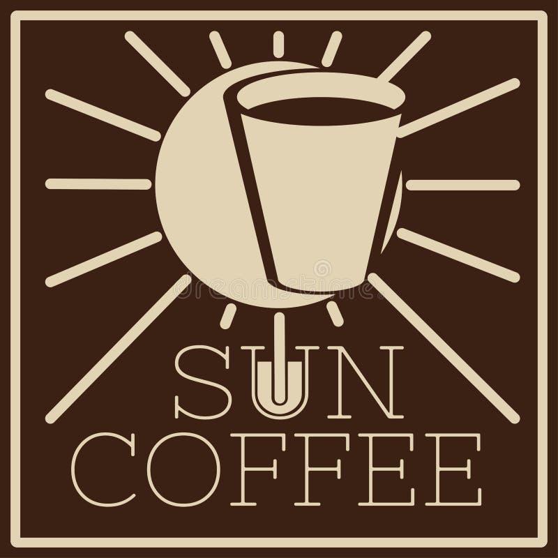 Embleem van koffie met zon en glas royalty-vrije stock foto