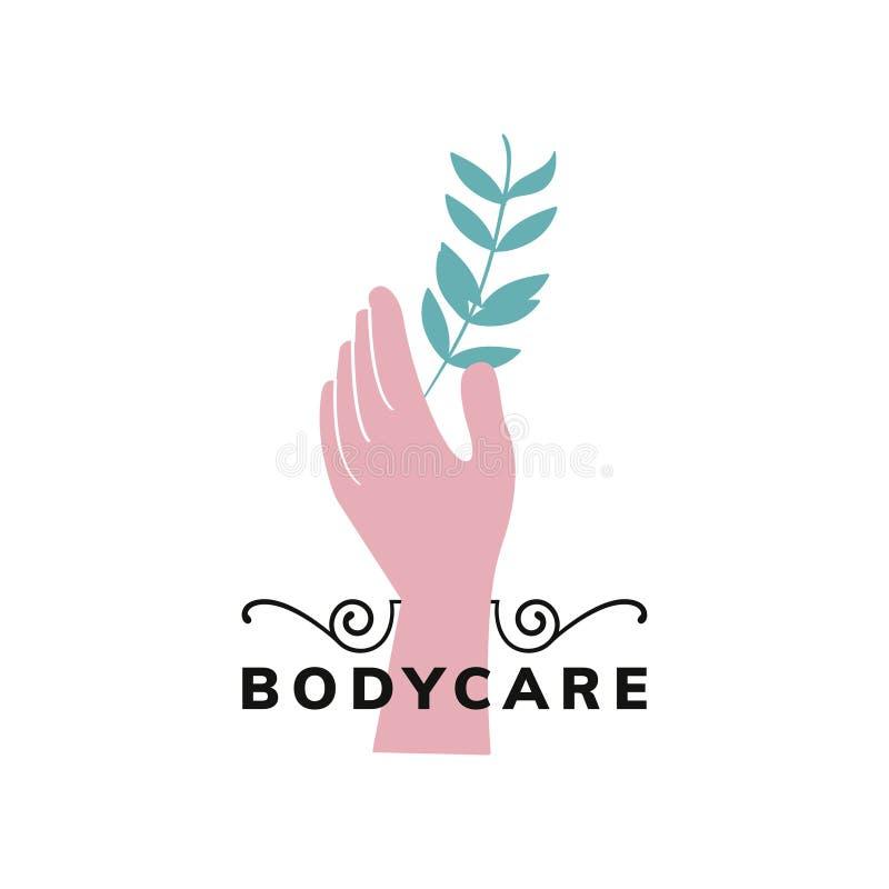 Embleem van natuurlijke organische bodycare vector illustratie