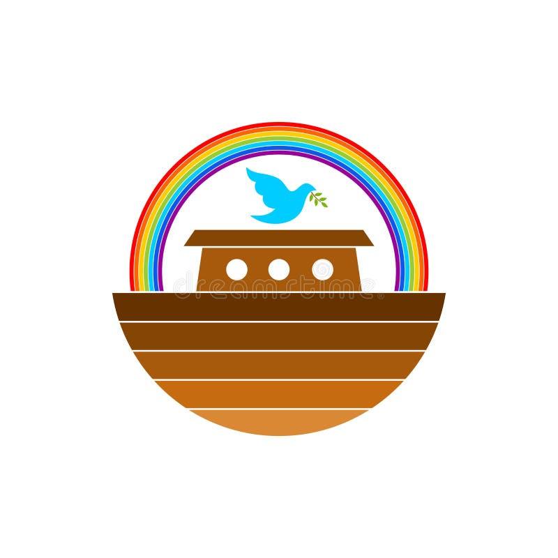Embleem van Noah Bak Regenboog - een symbool van de overeenkomst Duif met een tak van olijf Schip om dieren en mensen te redden royalty-vrije illustratie