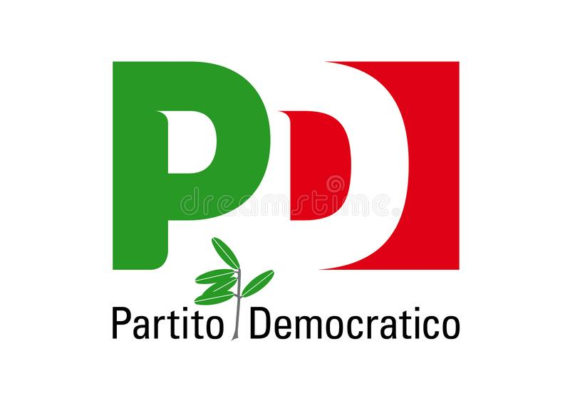 Embleem van Partito Democratico, Italiaanse politieke partij stock illustratie