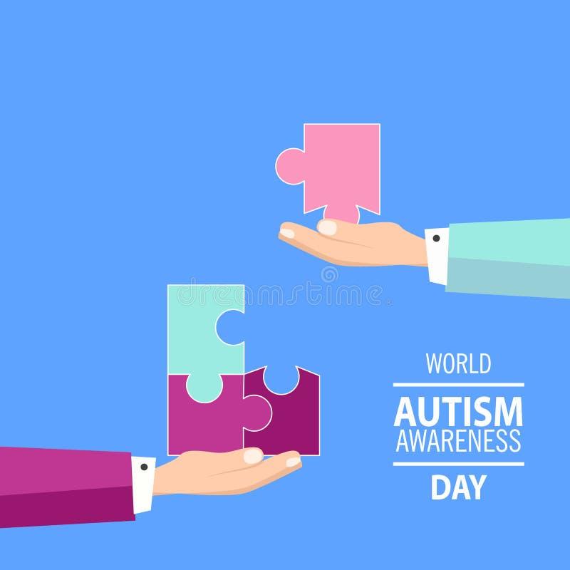 Embleem van raadselstukken en autismekleuren die wordt gemaakt stock afbeelding
