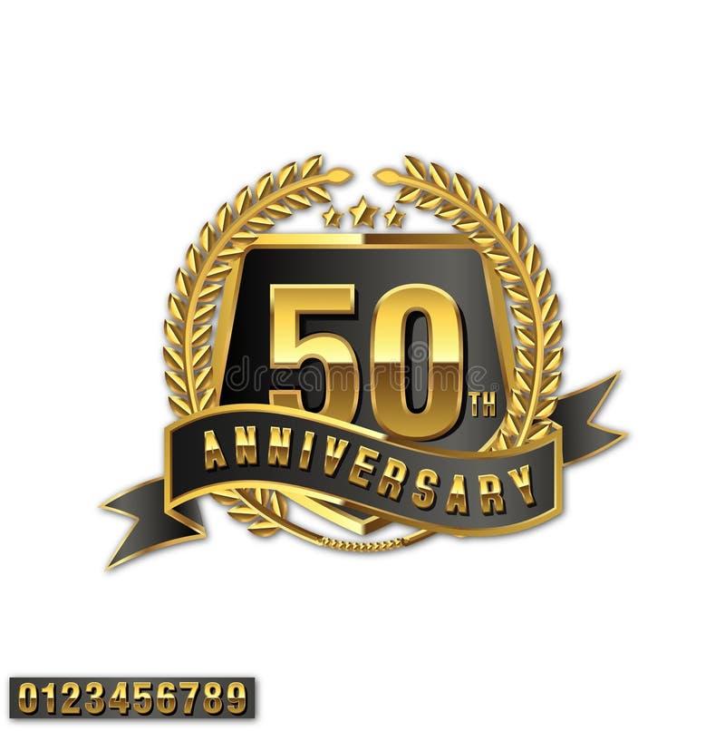 Embleem van verjaardags het gouden adge met volledig aantal royalty-vrije illustratie
