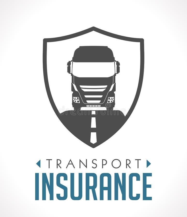 Embleem - vervoer en logistiekverzekering stock illustratie