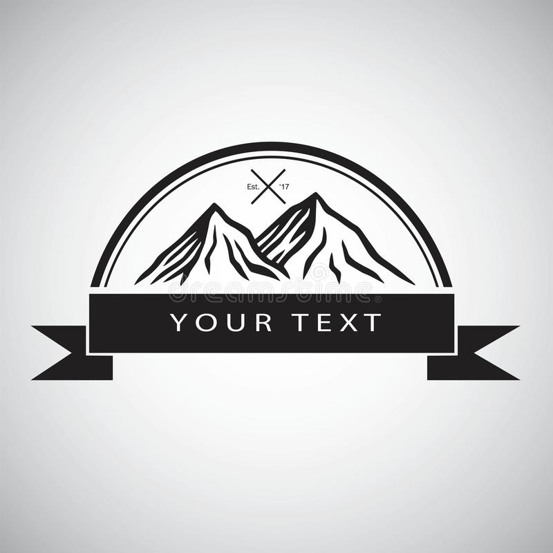 Embleem voor Bergavontuur, het Kamperen, Kampvuur, het Uitstekende Ontwerp van het Illustratie Vectormalplaatje vector illustratie