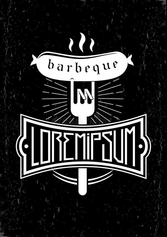 Embleem voor de barbecue vector illustratie