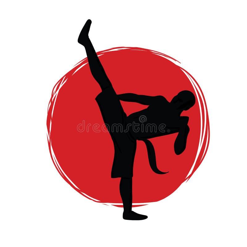 Embleem voor de club van vechtsporten Karate, kungfu of wushu Silhouet van een vechter tegen de achtergrond van het rood stock illustratie