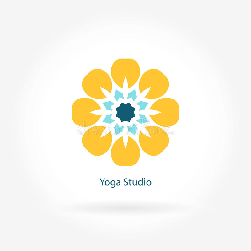 Embleem voor de yogastudio, geschiktheid Bloemsymbool Mandala logotype Grote knop stock illustratie