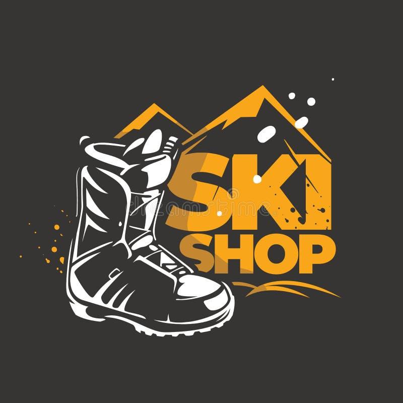 Embleem voor een winkel met het materiaal van de de wintersport stock illustratie