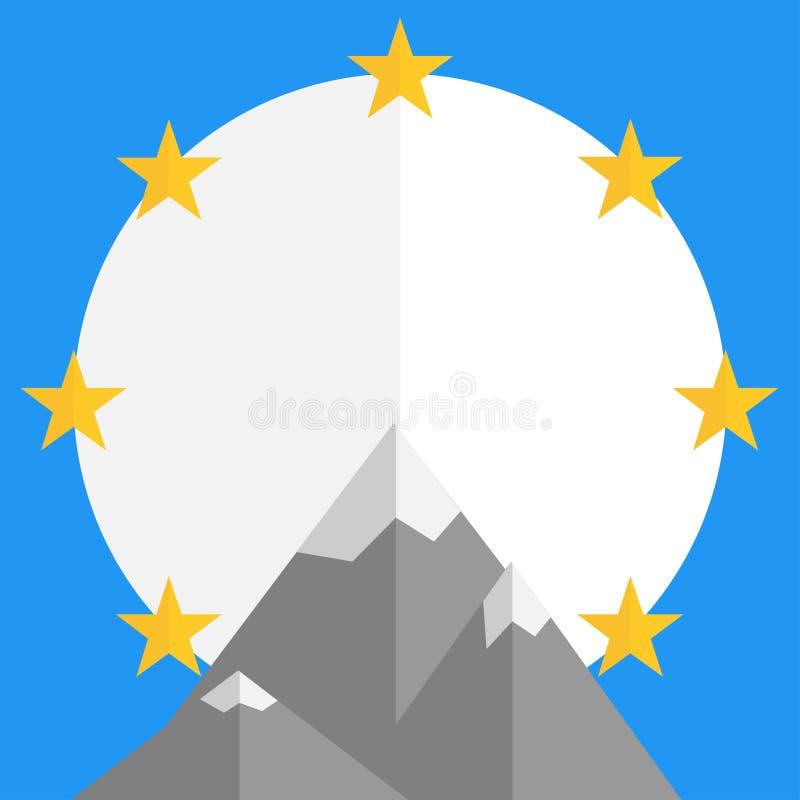 Embleem voor filmbedrijf met sterrenbergen royalty-vrije illustratie