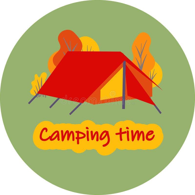 Embleem voor toeristenbasis of kamp De uitnodiging van het kinderens kamp om pictogram te rusten vector illustratie