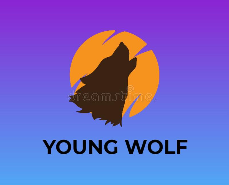 Embleem voor websites en bloggen jonge wolf royalty-vrije illustratie