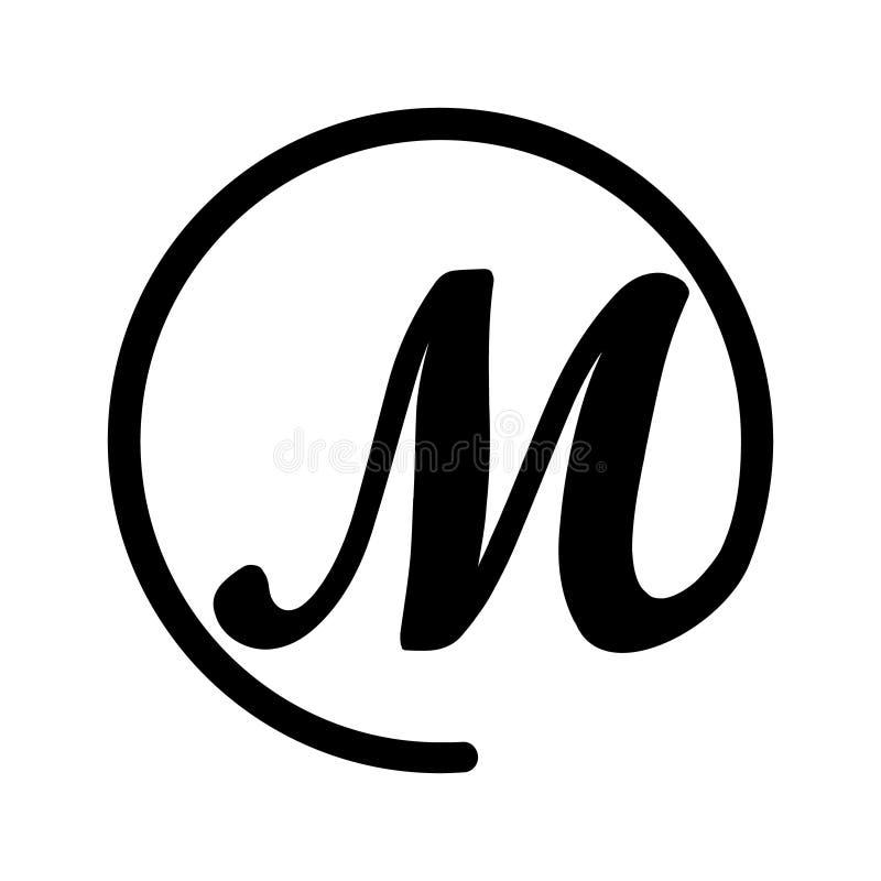 Embleem in vorm van brief M en hondteken royalty-vrije illustratie