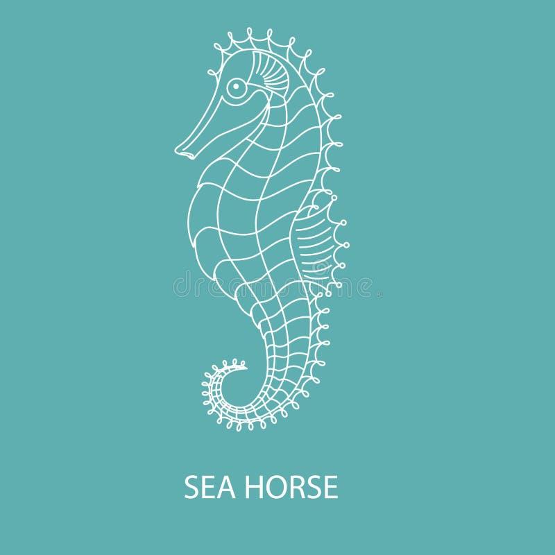 Embleem - witte seahorseΠstock foto
