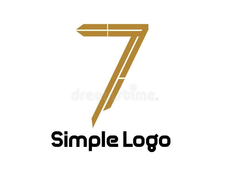 Embleem zeven eenvoudig voor zaken vector illustratie