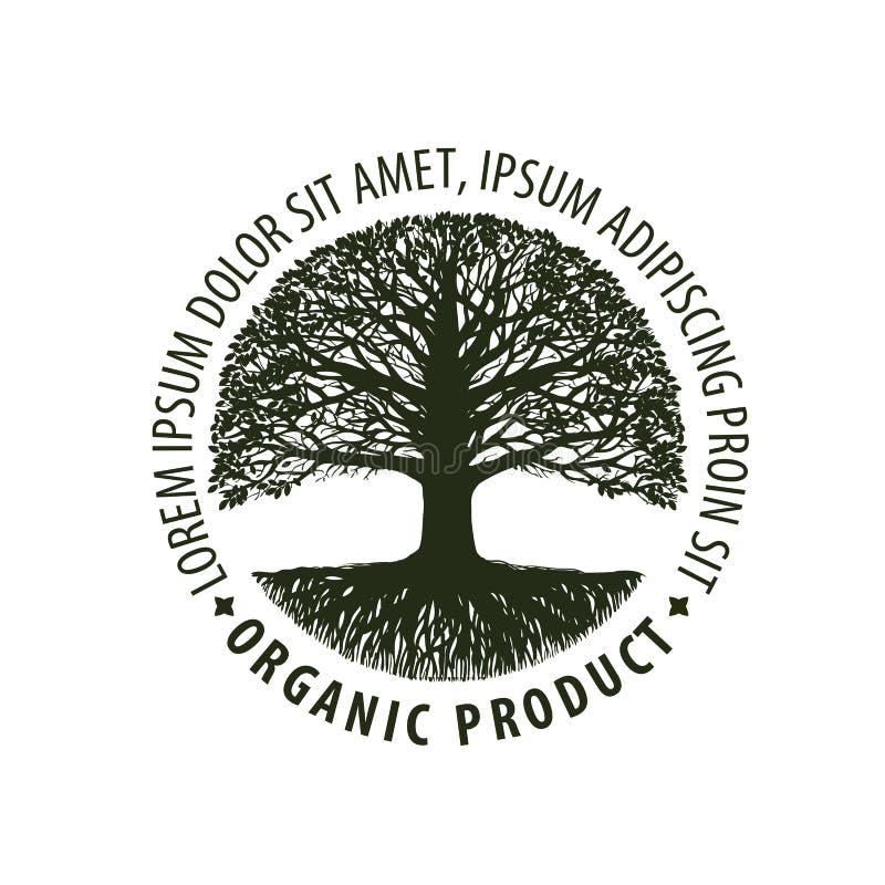 Embleemboom Organisch, natuurlijk product Aard of ecologiesymbool Milieuvriendelijk pictogram royalty-vrije illustratie