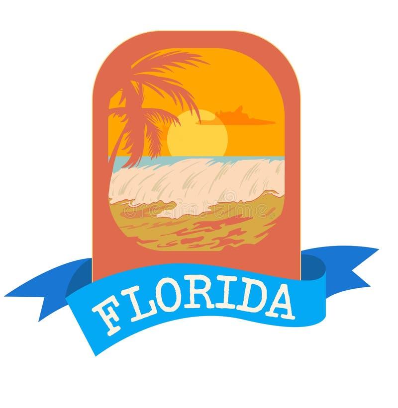 Embleemembleem voor vakantie in Florida met overzees en golven Palmsilhouet in oranje kleuren stock illustratie