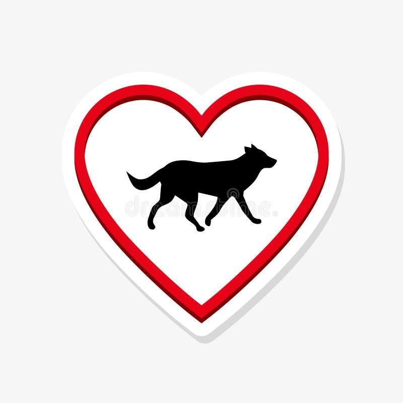 Embleemhond in het hart De abstracte ontwerpsjabloon van de hondsticker vector illustratie