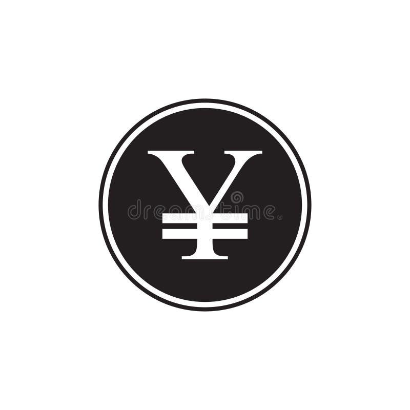 Embleemillustratie, Japans Yenvalutasymbool Zwart de Yenteken van silhouetjapan, Yenmuntstuk vector illustratie