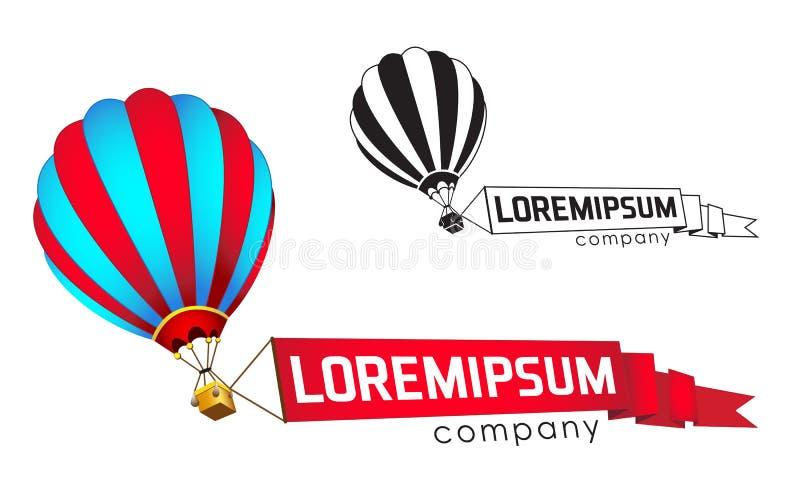 Embleemmalplaatje, de vliegende ballon met een banner stock illustratie