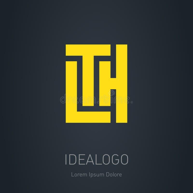 Embleemmalplaatje met brieven L, T en H Vector logotype of etiket vector illustratie