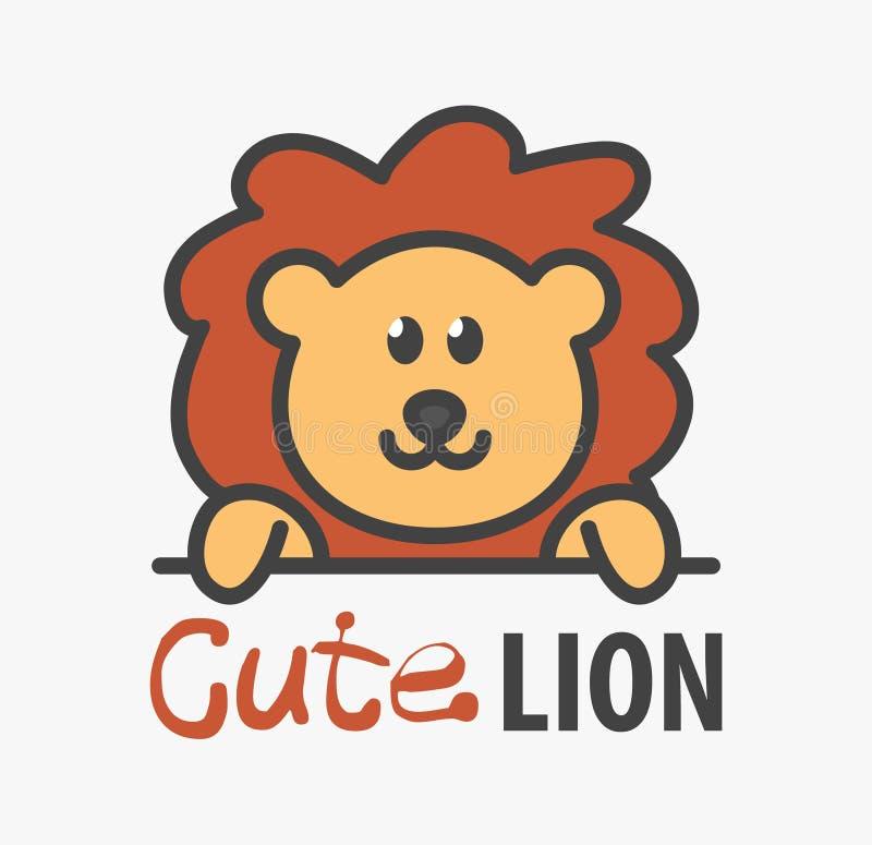 Embleemmalplaatje met leuke leeuw Vectorembleemontwerpsjabloon voor dierentuin, veterinaire klinieken Illustratie van het beeldve stock illustratie