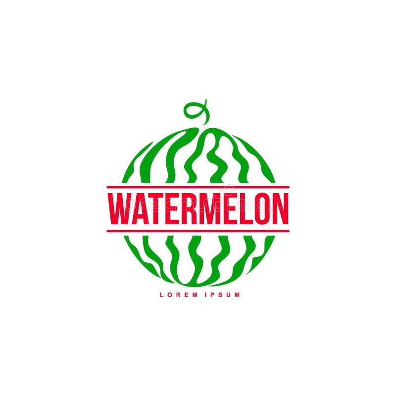 Embleemmalplaatje met zijaanzicht van gestileerde gestreepte watermeloen stock illustratie