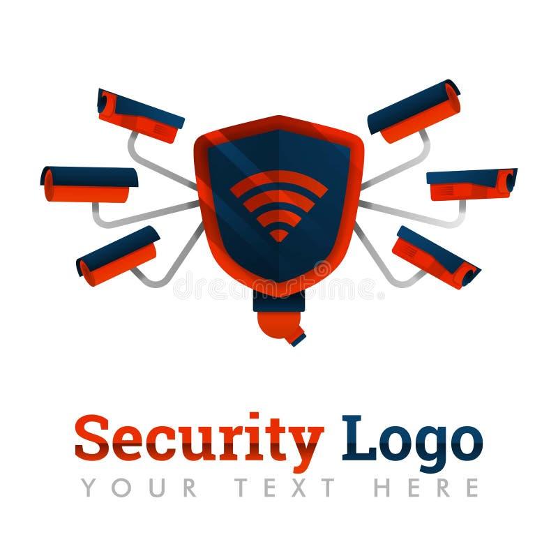 Embleemmalplaatje voor stads†‹â€ ‹veiligheid, veiligheid, preventie, diefstal, Internet-de industrie, camera's, netwerkbescherm royalty-vrije illustratie